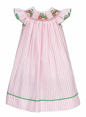 Anavini Velani Baby / Toddler Girls Pink Striped Dress - Smocked Green Tractors