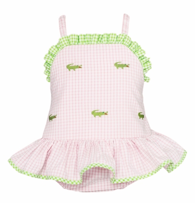 Anavini Velani Baby / Toddler Girls Pink Gingham Seersucker Embroidered Alligators Swimsuit - One Piece