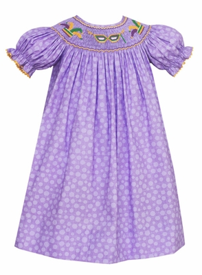 Anavini Velani Baby / Toddler Girls Purple Dots Smocked Mardi Gras Bishop Dress