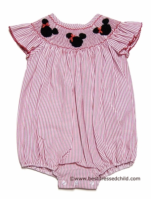 Anavini Velani Baby / Toddler Girls Red Stripe Seersucker Smocked Mouse Ears Bubble