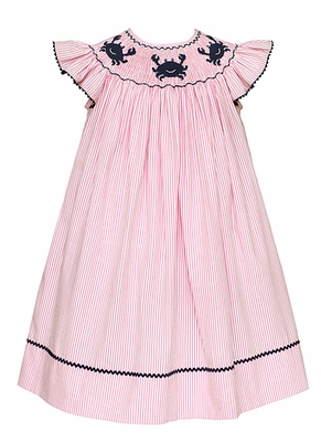 Anavini Velani Baby / Toddler Girls Smocked Blue Crabs on Pink Striped Seersucker Bishop Dress