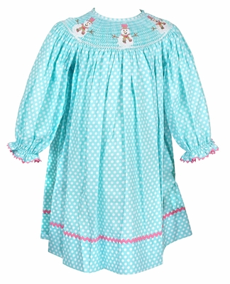 Anavini Velani Baby / Toddler Girls Turquoise / White Dots Smocked Snowman Bishop Dress