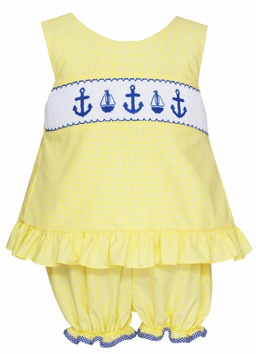 Anavini Velani Baby / Toddler Girls Yellow Check Smocked Anchors Bloomers Set