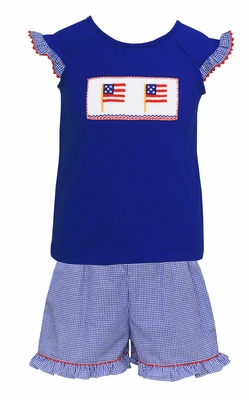 Anavini Velani Girls Blue Check Ruffle Shorts with Smocked Flags Top