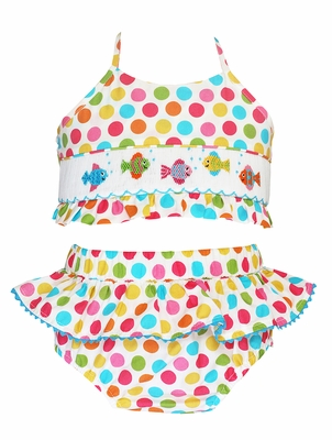 Anavini Velani Girls Colorful Dots Smocked Fish Swimsuit - Two Piece