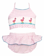 Anavini Velani Girls Pink Seersucker Smocked Flamingos Ruffled Two Piece Swimsuit