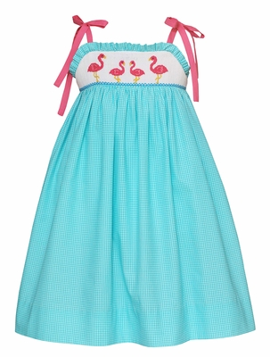 Anavini Velani Girls Turquoise Check Smocked Pink Flamingos Sun Dress