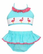 Anavini Velani Girls Turquoise Check Smocked Pink Flamingos Swimsuit - Two Piece