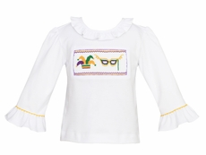 Anavini Velani Girls White Ruffle Sleeve Shirt - Smocked Mardi Gras - Girl