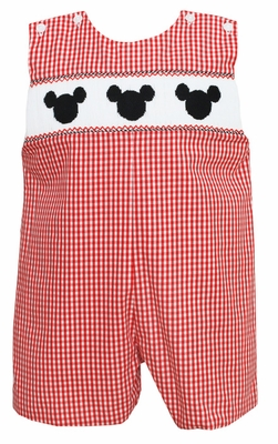 Anavini Velani Infant Boys Red Gingham Smocked Mouse Ears Shortall