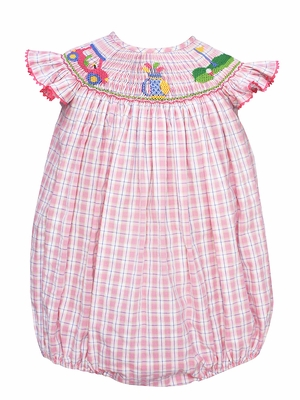 Anavini Velani Infant Girls Pink Plaid Smocked Golf Bubble