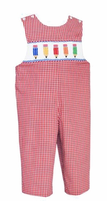 Anavini Velani Infant / Toddler Boys Red Gingham Smocked Colored Pencils Longall