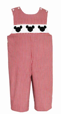 Anavini Velani Infant / Toddler Boys Red Gingham Smocked Mouse Ears Longall