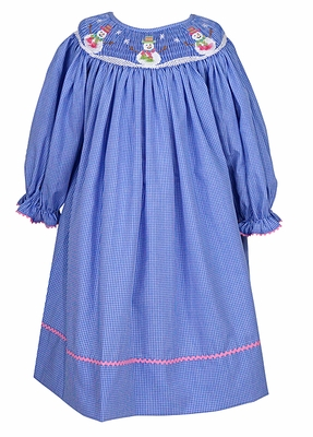Anavini Velani Infant / Toddler Girls Periwinkle Blue Checks Smocked Holiday Snowman Bishop Dress