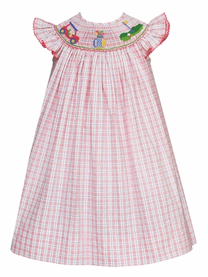 Anavini Velani Infant / Toddler Girls Pink Plaid Smocked Golf Bishop Dress