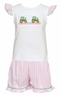 Anavini Velani Toddler Girls Pink Stripe Ruffle Shorts with Smocked Tractors Top