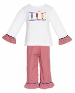 Anavini Velani Toddler Girls Red Gingham Ruffle Pants with Smocked Colored Pencils Top - Girls