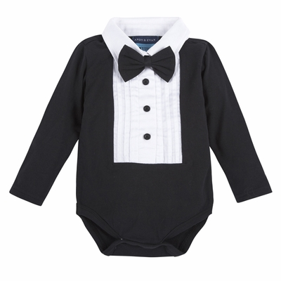 Andy & Evan Baby Boys Black / White Tuxedo Style Shirtzie with Bow Tie