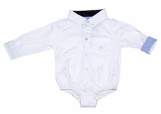 Andy & Evan Baby Boys Classic White Oxford Shirtzie - Blue Cuffs