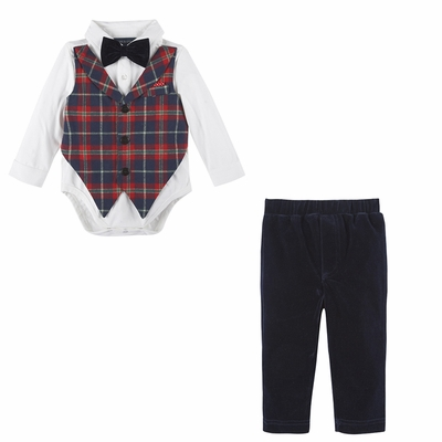 Andy & Evan Baby Boys Flannel Suit - Red Christmas Plaid Vest