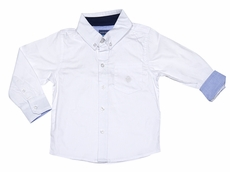 Andy & Evan Boys Classic White Oxford Dress Shirt - Contast Blue Cuffs