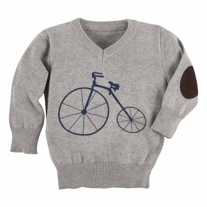 Andy & Evan Boys Gray / Navy Blue Bicycle Sweater - Toddler Boys Sweaters & Vests - The Best Dressed Child