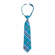 Andy & Evan Boys Neck Tie - Teal Blue Plaid
