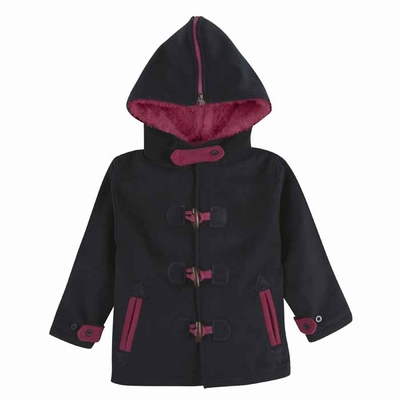 Andy Amp Evan Girls Navy Blue And Hot Pink Toggle Pea Coat