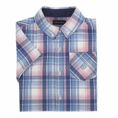 & Evan Boys Madras Plaid Shirt - Blue & Pink
