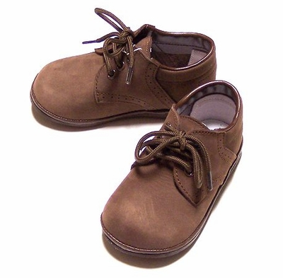 L Amour Angel Baby Boys Brown Nubuck Dress Shoes