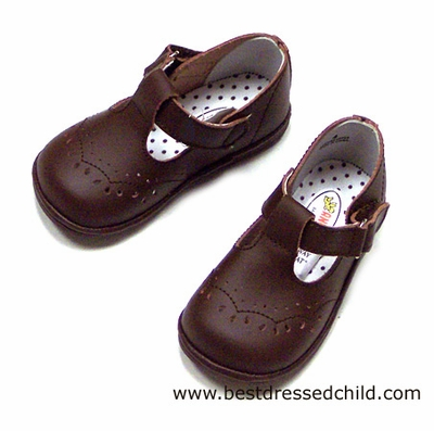 Angel Baby Girl's Brown Leather T Strap Shoes