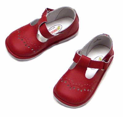 Angel Baby Girl's Red Leather T Strap Shoes