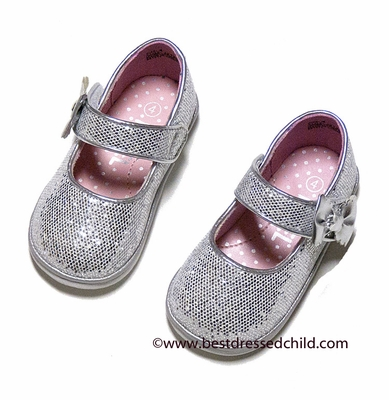 Angel Baby Toddler Girls Silver Glitter Mary Jane Shoes