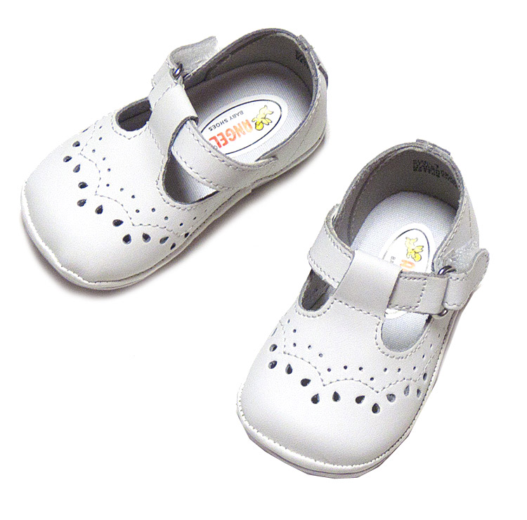 f0b9037d6ff2 Angel Baby Toddler Girls  T-Strap Shoes in White Leather