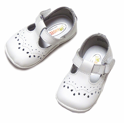 Angel Baby Toddler Girls T Strap Shoes in White Leather