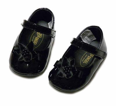 L'Amour Angel Baby / Toddler Girls Black Patent Flower Mary Janes Shoes