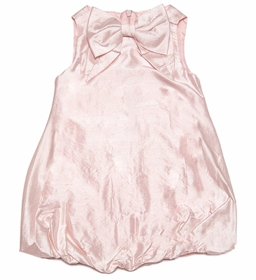 Baby Biscotti Girls Fairest of All Pink Silk Sleeveless Bubble Dress with Bow