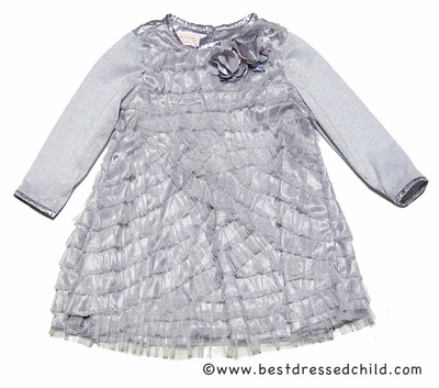 Baby Biscotti Infant / Toddler Girls Silver Spoon Tulle Ruffles Dress