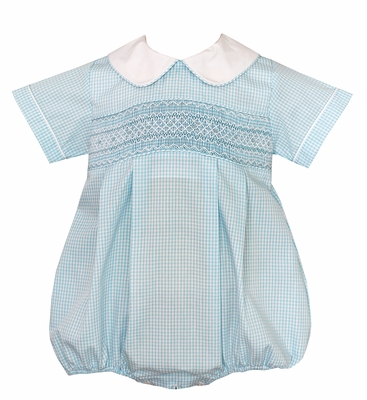 Baby Boys Turquoise Blue Check Smocked Bubble with Collar - Exclusively at The Best Dressed Child