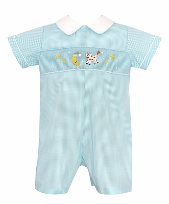 Baby Boys Turquoise Check Smocked Cow Jumped Over the Moon Romper - Exclusively at The Best Dressed Child