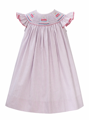 Baby Girls Lavender Striped Smocked First Birthday Cakes Dress - Exclusively at The Best Dressed Child