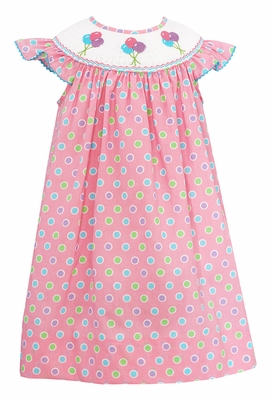 Baby Girls Pink / Polka Dots Smocked Birthday Balloons Dress - Exclusively at The Best Dressed Child