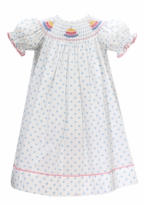Baby Girls White / Blue Dots Smocked First Birthday Cakes Dress - Exclusively at The Best Dressed Child