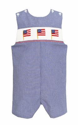Baby / Toddler Boys Blue Check Smocked Patriotic Flags Jon Jon - Exclusively at The Best Dressed Child