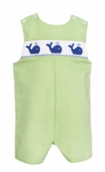 Baby / Toddler Boys Lime Green Check Smocked Blue Whales Jon Jon - Exclusively at The Best Dressed Child
