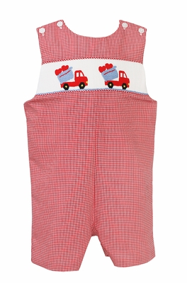 Baby / Toddler Boys Red Check Smocked Valentine's Hearts in Dump Trucks Jon Jon - Exclusively at The Best Dressed Child