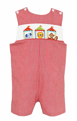 Baby / Toddler Boys Red Gingham Smocked Circus Animals Jon Jon - Exclusively at The Best Dressed Child