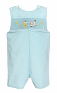 Baby / Toddler Boys Turquoise Check Smocked Cow Jumped Over the Moon Jon Jon - Exclusively at The Best Dressed Child