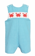 Baby / Toddler Boys Turquoise Check Smocked Crabs Jon Jon - Exclusively at The Best Dressed Child
