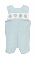 Baby / Toddler Boys Turquoise Check Smocked Seashells Jon Jon - Exclusively at The Best Dressed Child